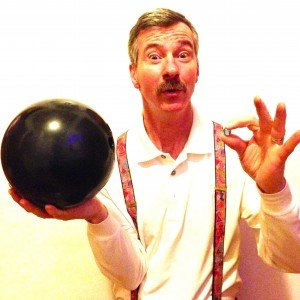 Tom with bowling ball